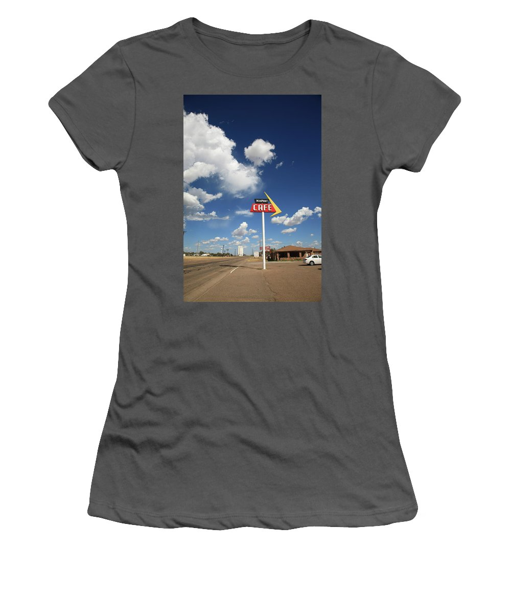 66 Women's T-Shirt (Athletic Fit) featuring the photograph Route 66 Cafe by Frank Romeo