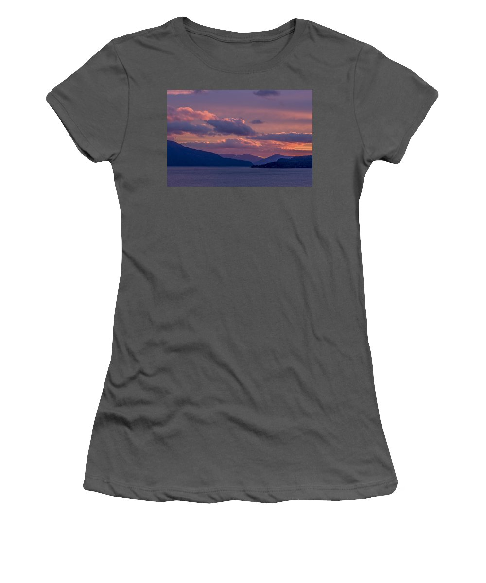 Sunrise Women's T-Shirt (Athletic Fit) featuring the photograph 121205a-154 A Sunnyside Sunrise by Albert Seger