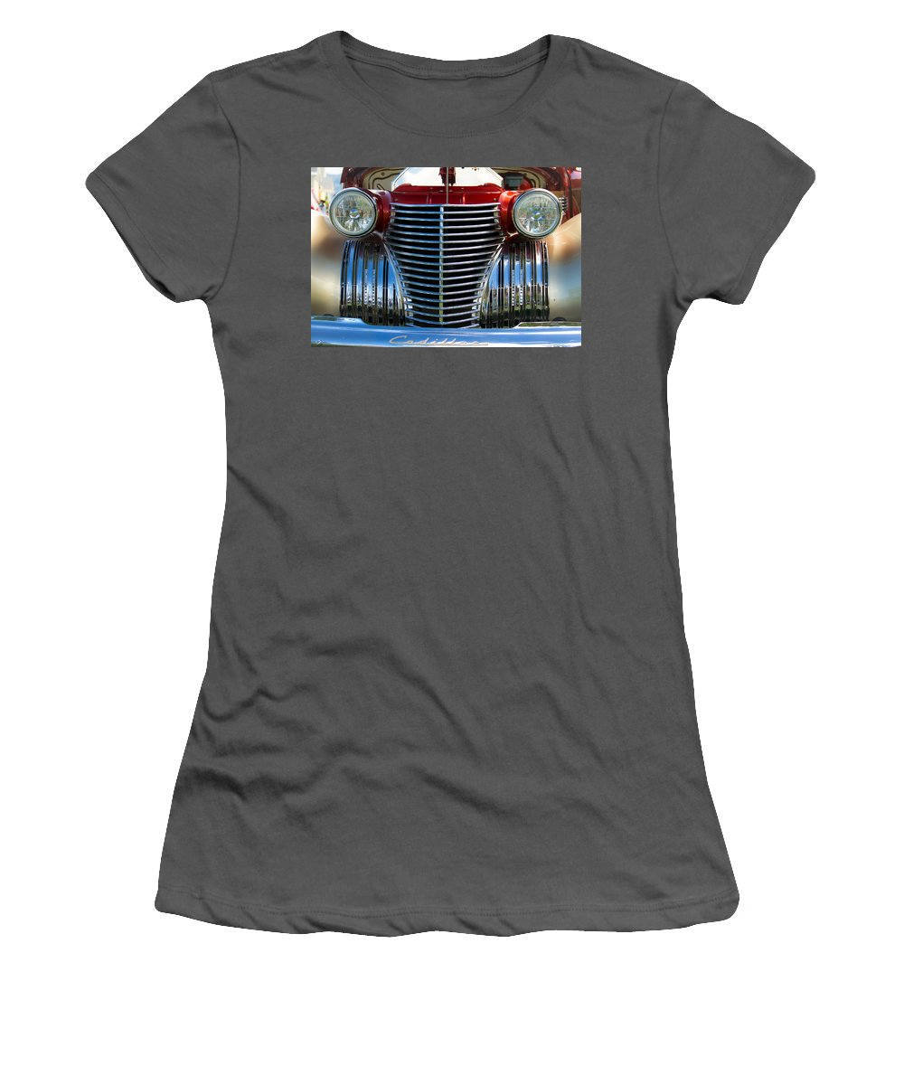 Coupe Women's T-Shirt (Athletic Fit) featuring the photograph 1940 Cadillac Coupe Front View by Eti Reid