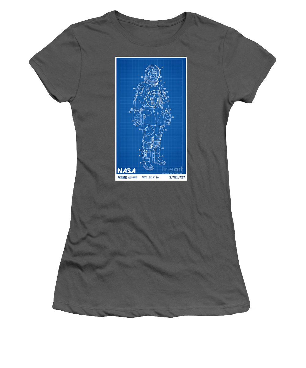 Nasa Women's T-Shirt (Athletic Fit) featuring the digital art 1973 Nasa Astronaut Space Suit Patent Art by Nishanth Gopinathan