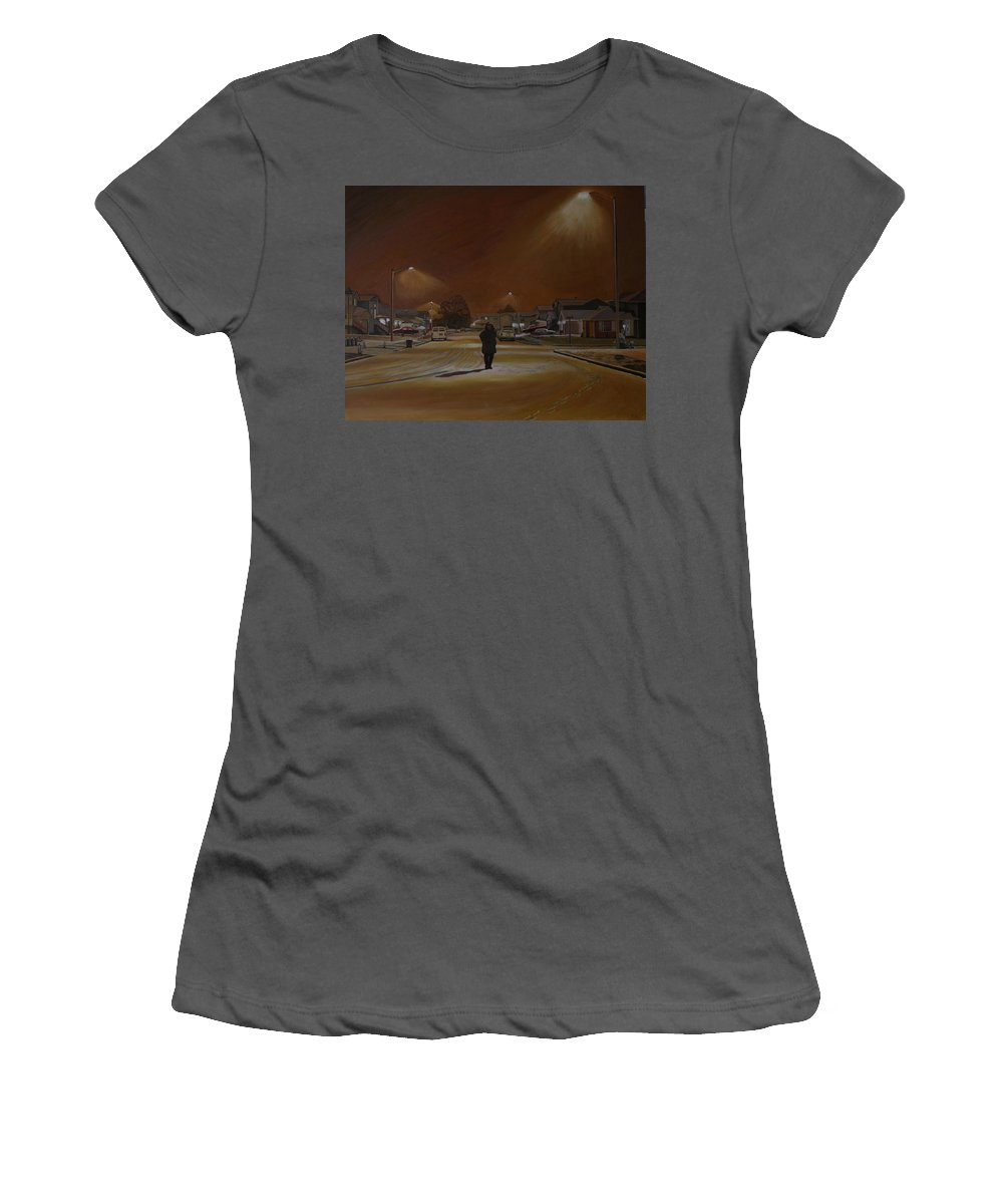 Winter Landscape Women's T-Shirt (Athletic Fit) featuring the painting 1997-my First Snowy Winter by Thu Nguyen