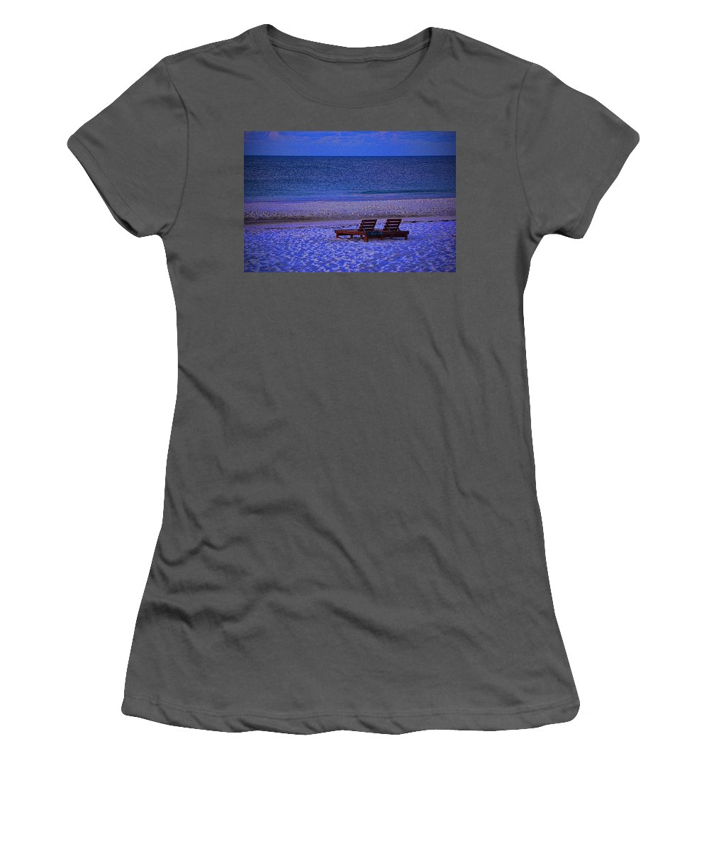 Palm Women's T-Shirt (Athletic Fit) featuring the photograph 2 Chairs On A Blue Morning by Michael Thomas