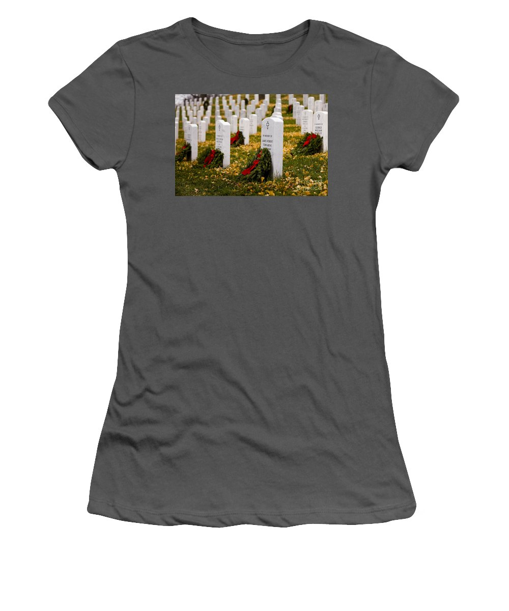 Arlington Women's T-Shirt (Athletic Fit) featuring the photograph Christmas Wreaths Laid At The Arlington Cemetery by B Christopher