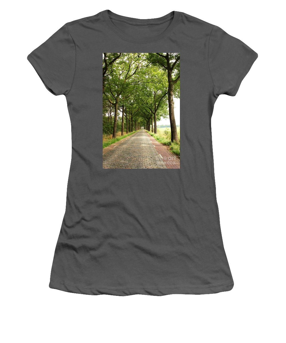 Road Women's T-Shirt (Athletic Fit) featuring the photograph Cobblestone Country Road by Carol Groenen