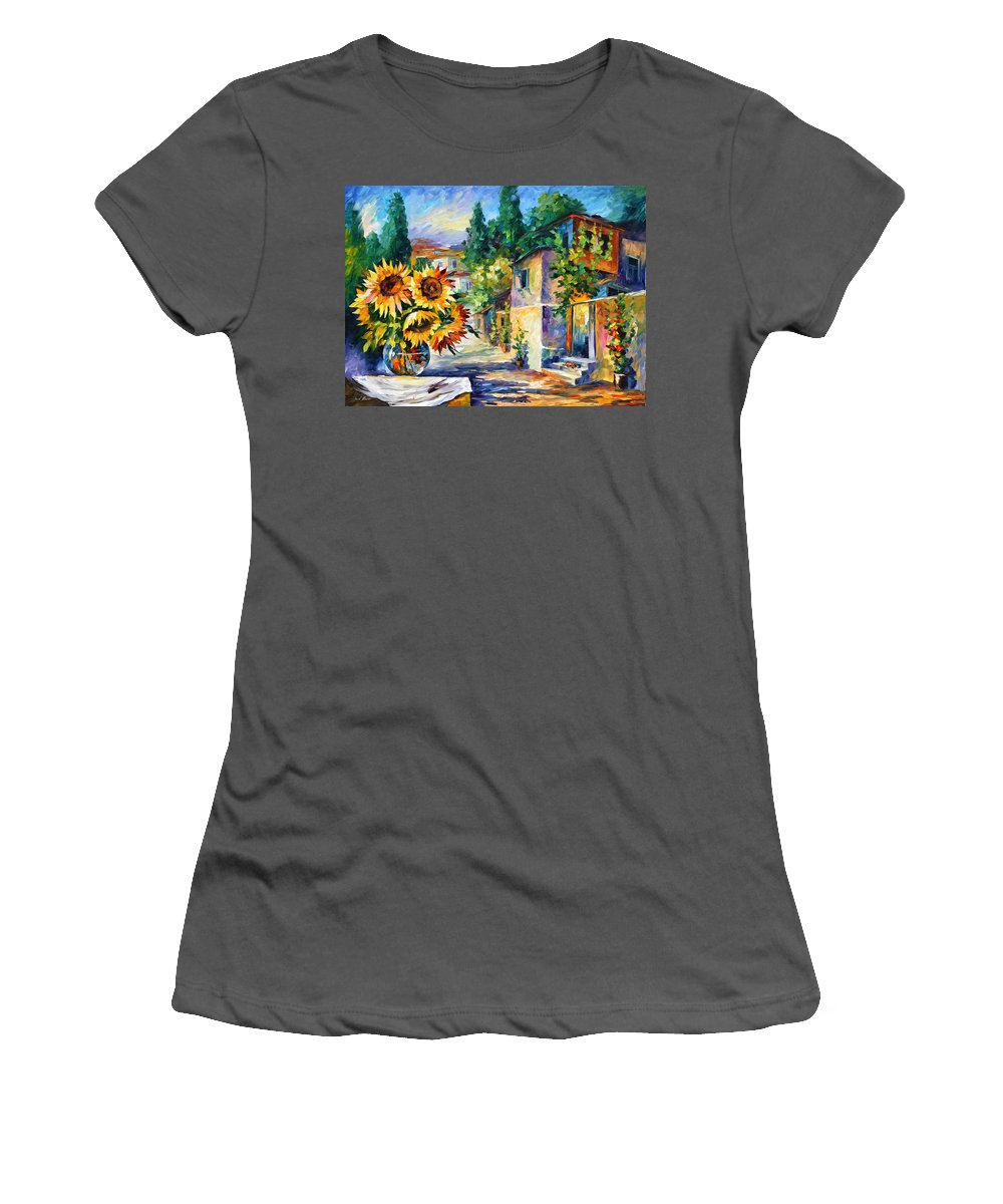 Greek Women's T-Shirt (Athletic Fit) featuring the painting Greek Noon by Leonid Afremov