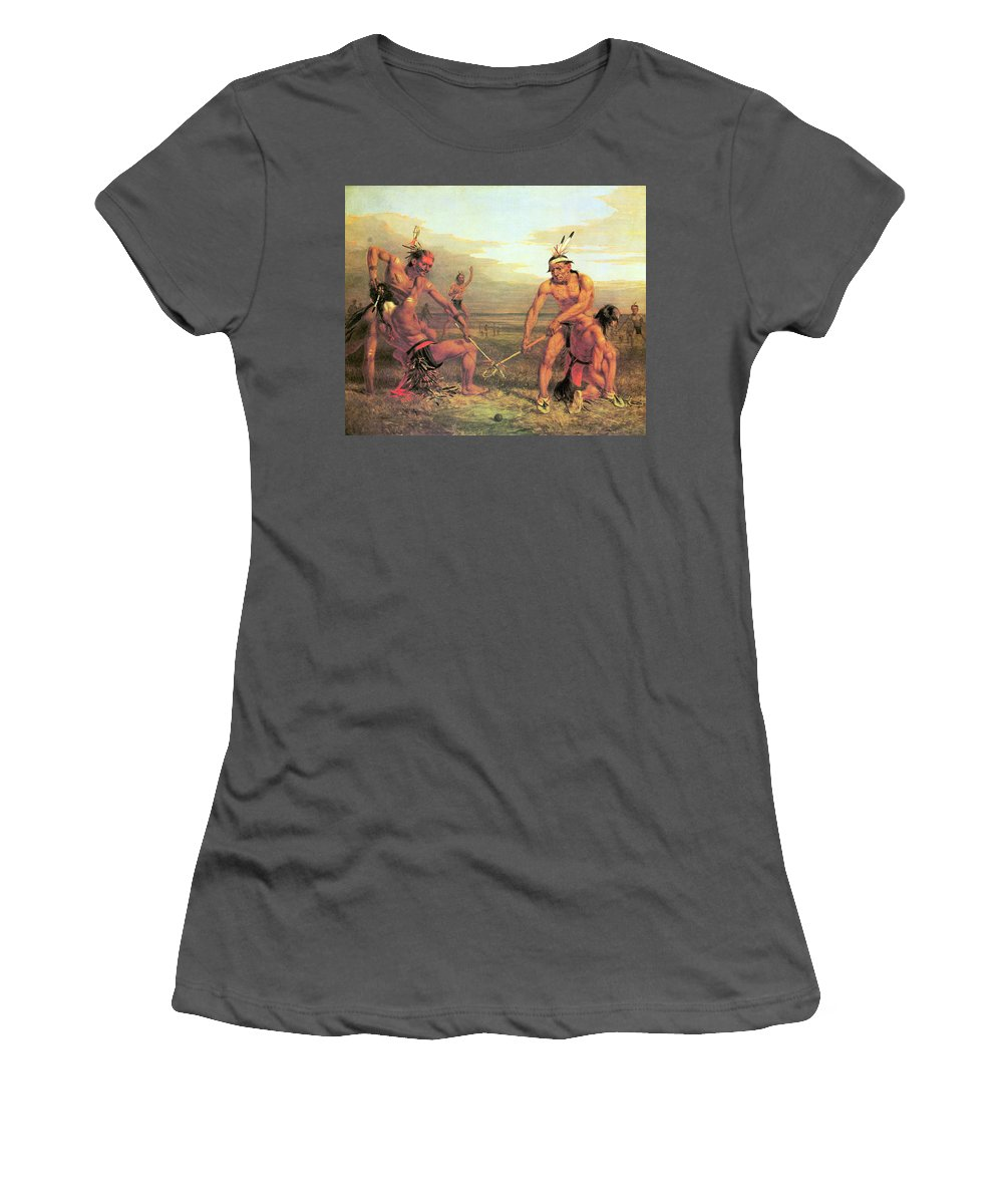 Indian Ball Game Women's T-Shirt (Athletic Fit) featuring the photograph Indian Ball Game by Charles Deas