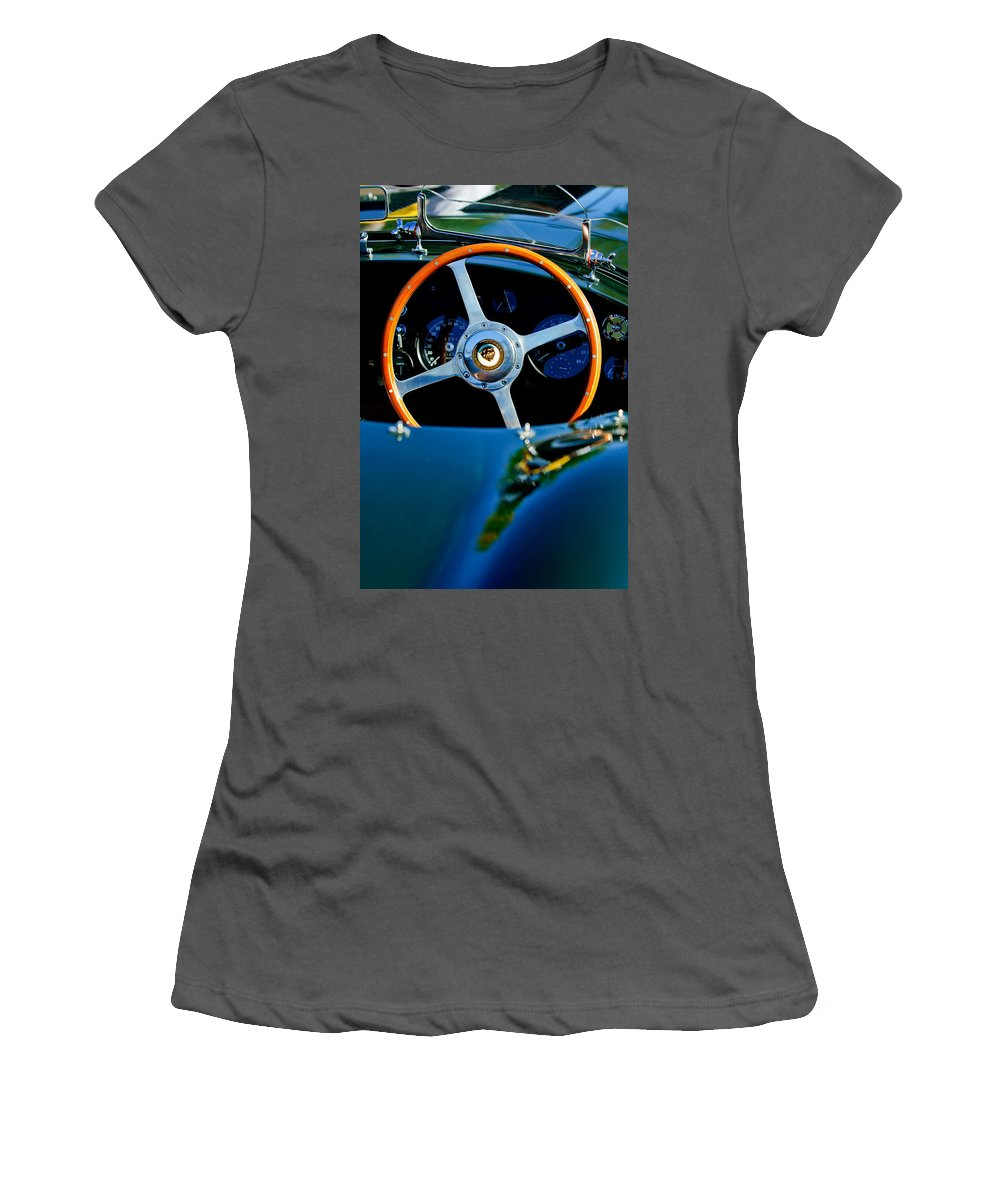Jaguar Steering Wheel Women's T-Shirt (Athletic Fit) featuring the photograph Jaguar Steering Wheel by Jill Reger
