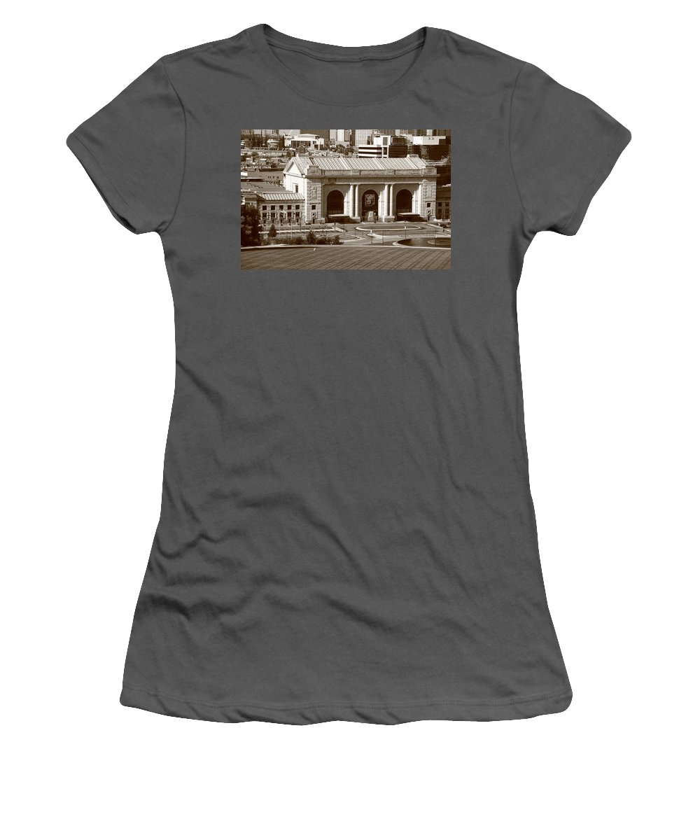 America Women's T-Shirt (Athletic Fit) featuring the photograph Kansas City - Union Station by Frank Romeo