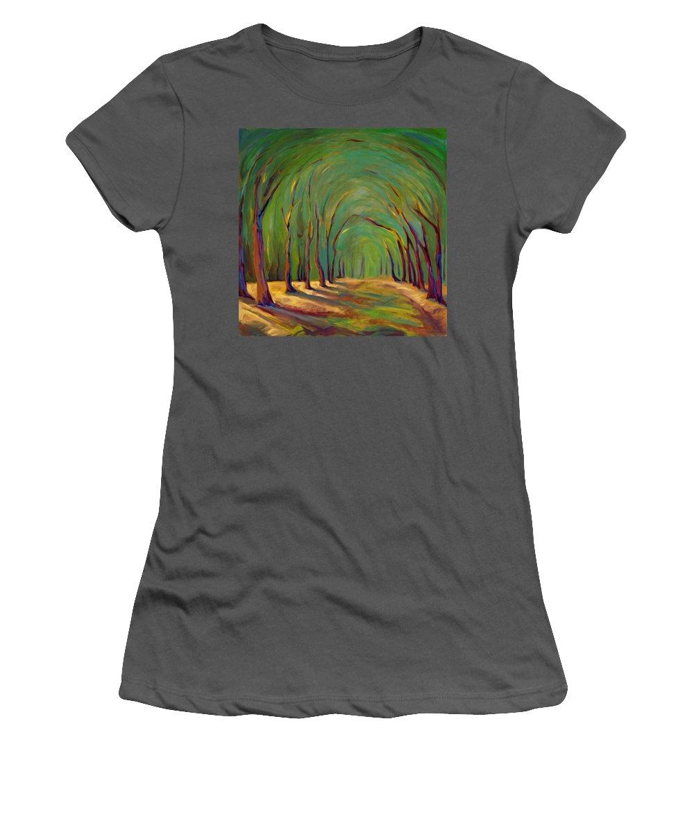 Landscape Women's T-Shirt (Athletic Fit) featuring the painting Our Secret Place by Konnie Kim