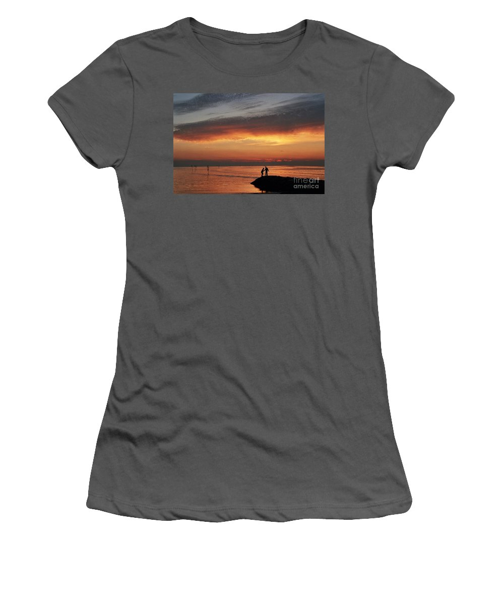 Sunset Women's T-Shirt (Athletic Fit) featuring the photograph Rock Harbor Sunset by Allen Beatty
