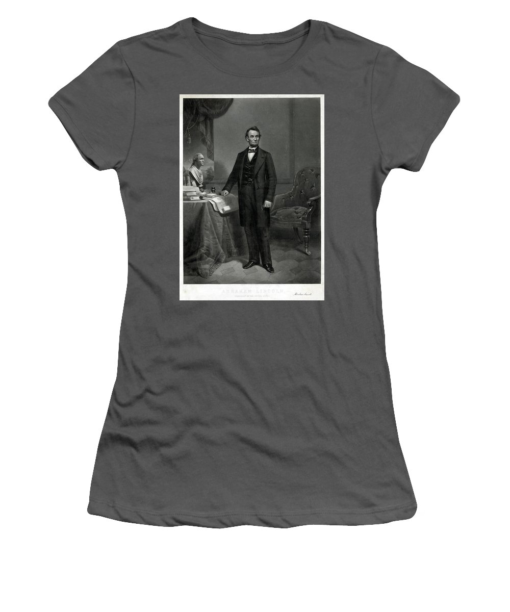 19th Century Women's T-Shirt (Athletic Fit) featuring the painting Abraham Lincoln (1809-1865) by Granger