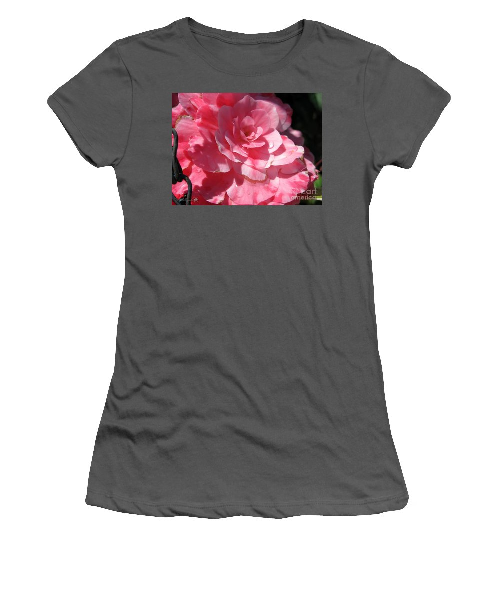 Begonia Women's T-Shirt (Athletic Fit) featuring the photograph Begonia Named Nonstop Pink by J McCombie