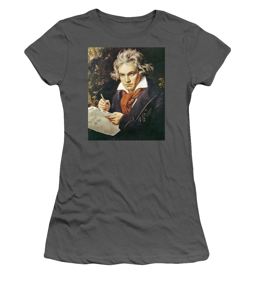1819 Women's T-Shirt (Athletic Fit) featuring the painting Ludwig Van Beethoven (1770-1827) by Granger
