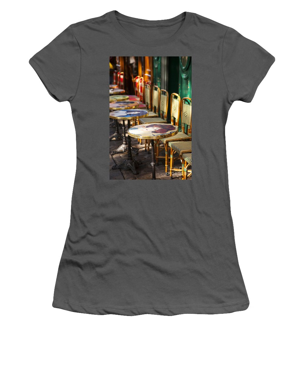Cafe Women's T-Shirt (Athletic Fit) featuring the photograph Montmartre Cafe by Brian Jannsen