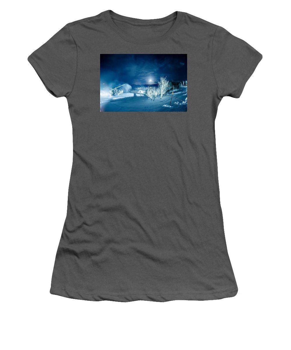 Sugar Women's T-Shirt (Athletic Fit) featuring the photograph North Carolina Sugar Mountain Ski Resort Winter 2014 by Alex Grichenko