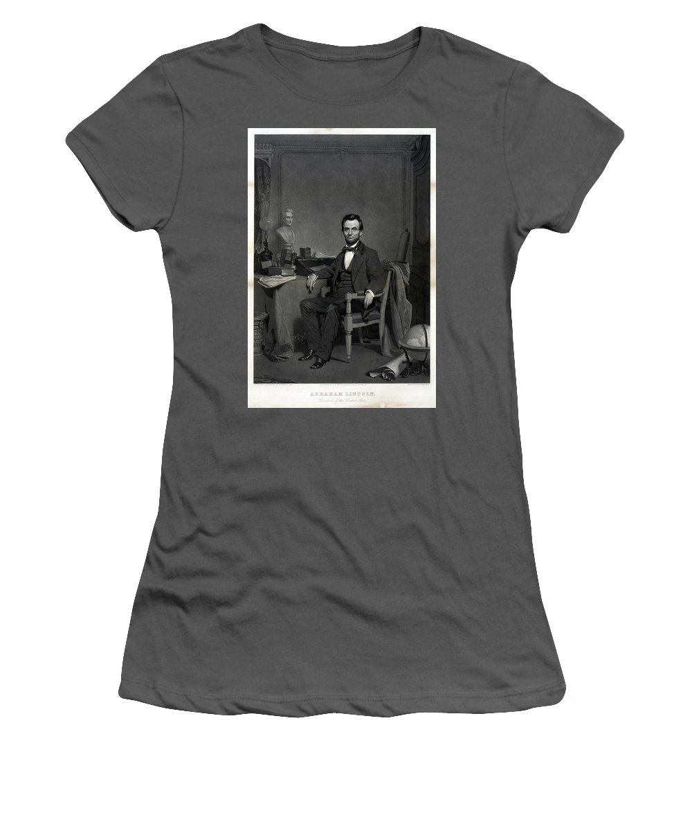 1860 Women's T-Shirt (Athletic Fit) featuring the painting Abraham Lincoln (1809-1865) by Granger