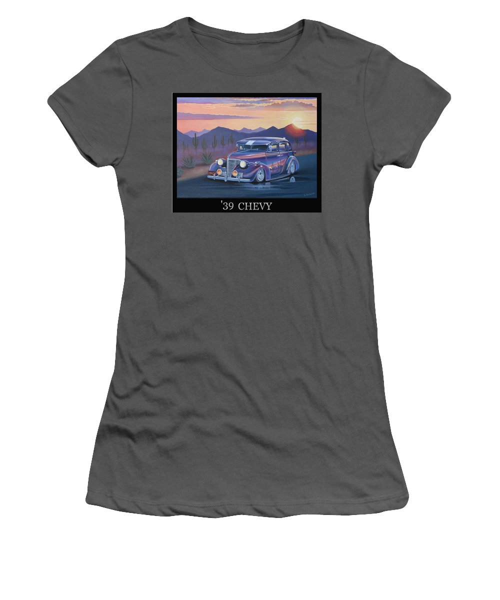 Automotive Women's T-Shirt (Athletic Fit) featuring the painting '39 Chevy by Stuart Swartz