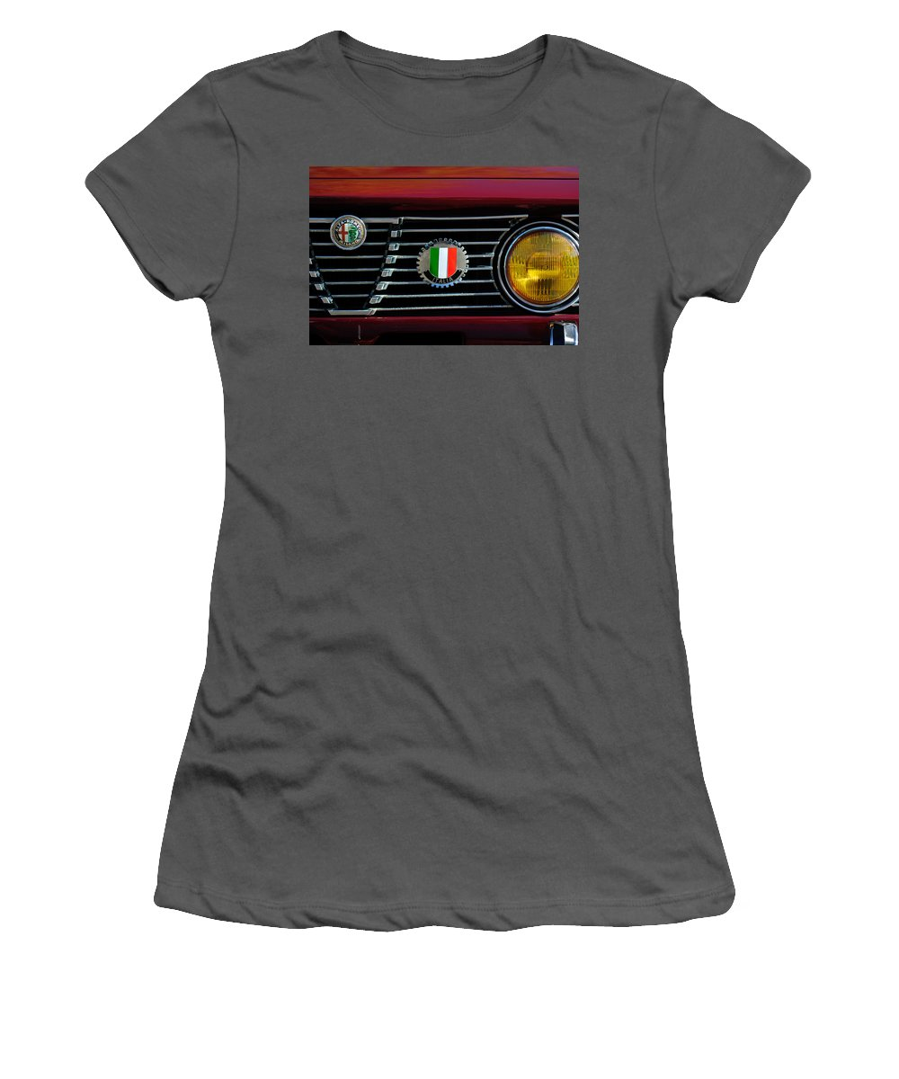 Alfa-romeo Grille Emblem Women's T-Shirt (Athletic Fit) featuring the photograph Alfa-romeo Grille Emblem by Jill Reger