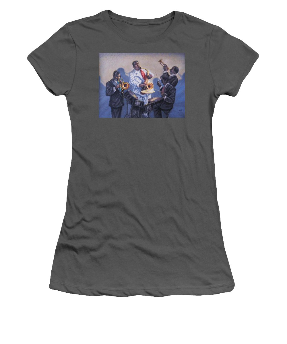 Jazz Women's T-Shirt (Athletic Fit) featuring the painting Big Jay And Company by Raffi Jacobian