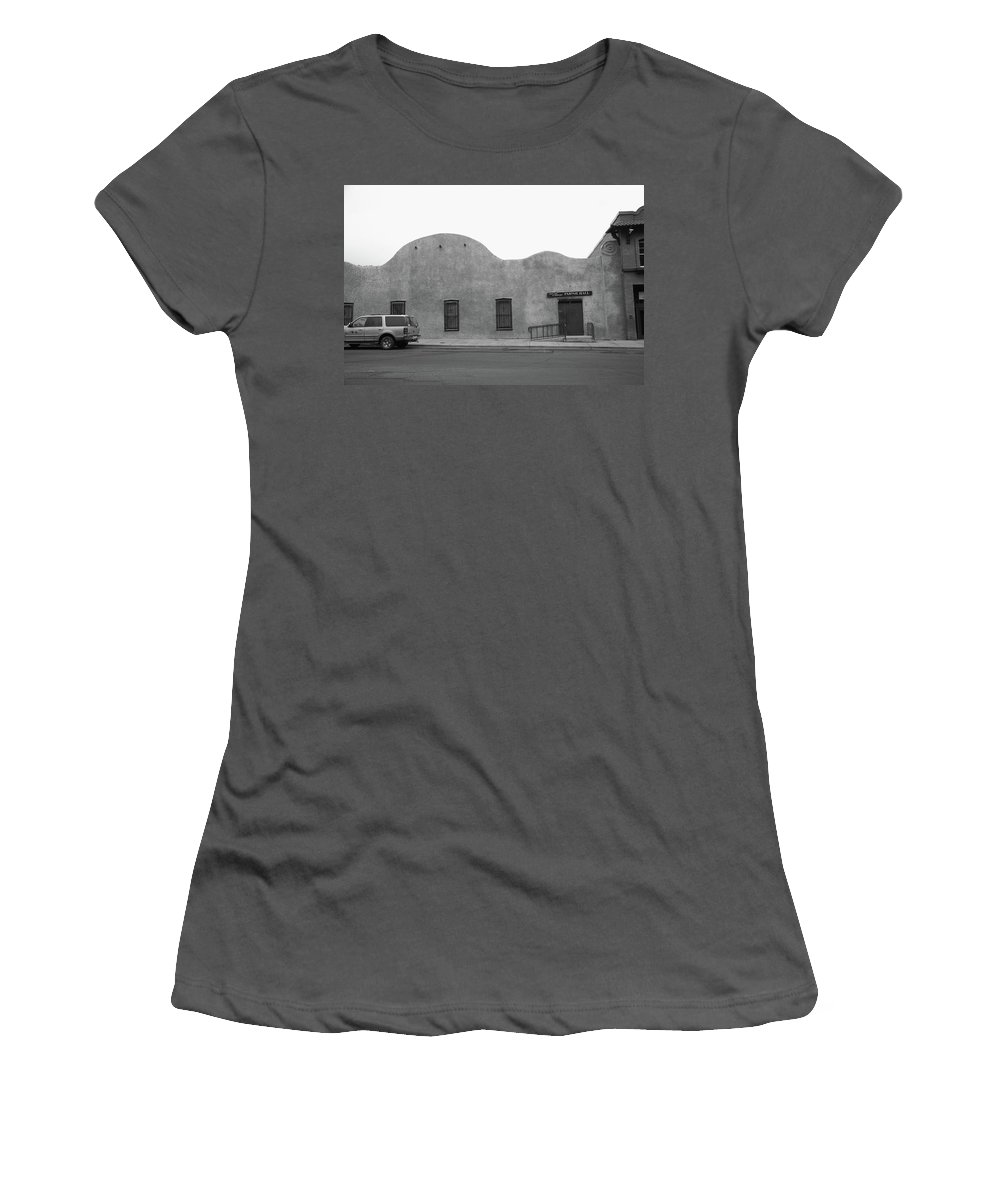 Adobe Women's T-Shirt (Athletic Fit) featuring the photograph Las Vegas New Mexico Church by Frank Romeo
