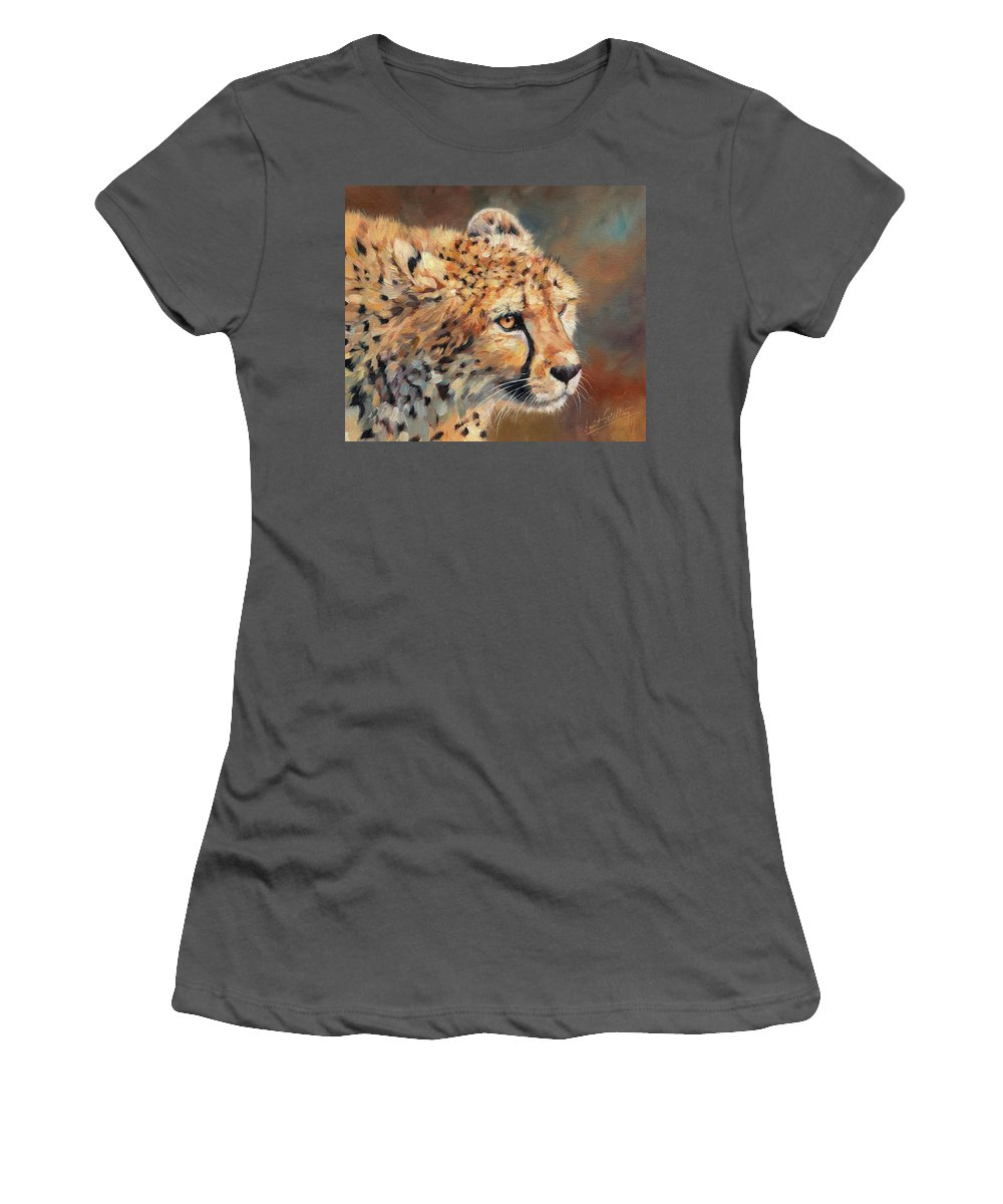 Cheetah Women's T-Shirt (Athletic Fit) featuring the painting Cheetah by David Stribbling