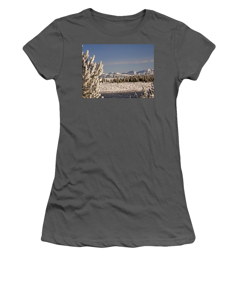 Yellowstone Women's T-Shirt (Athletic Fit) featuring the photograph A Day Of Winter by Image Takers Photography LLC - Carol Haddon