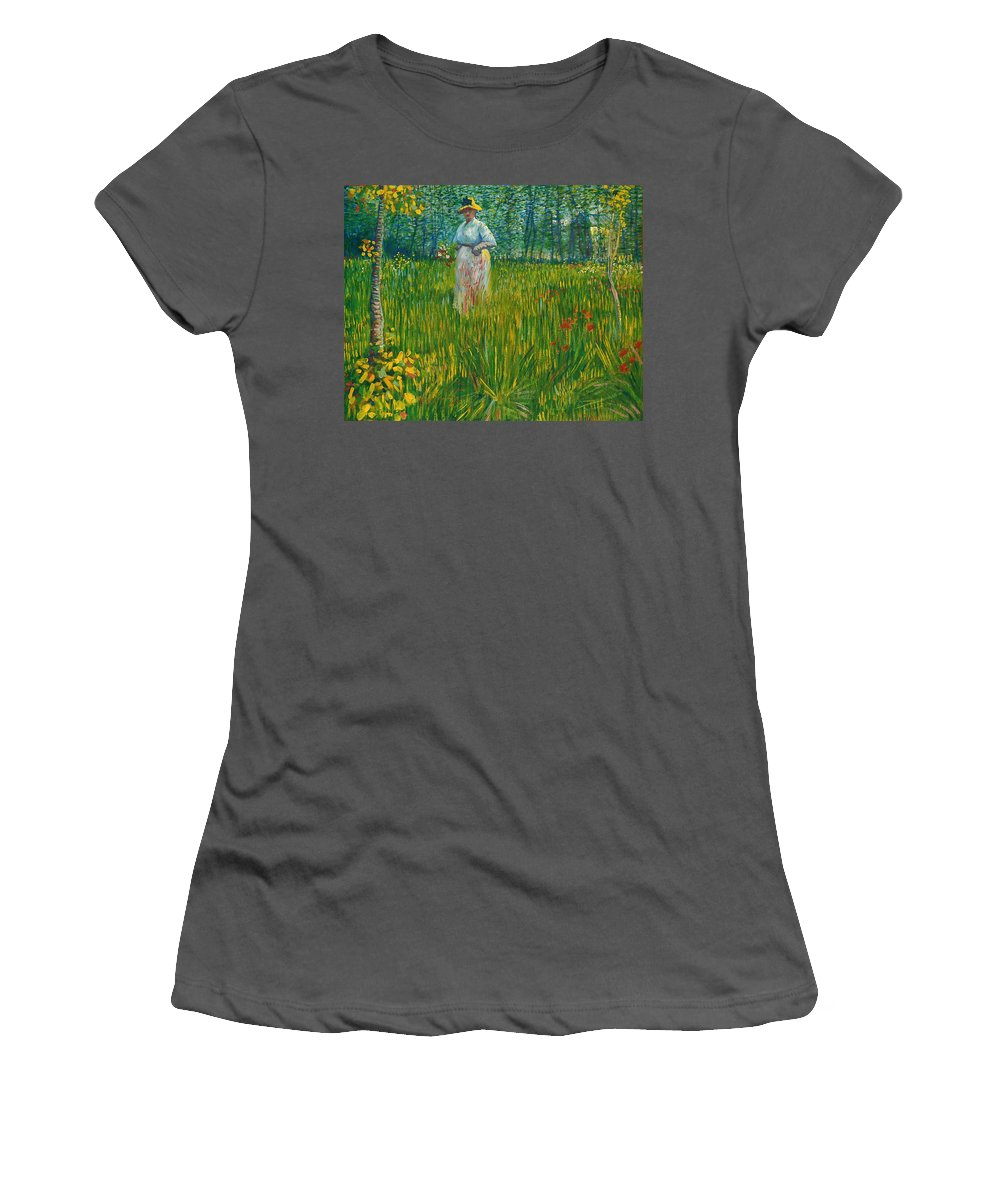 Vincent Willem Van Gogh Women's T-Shirt (Athletic Fit) featuring the painting A Woman Walking In A Garden Van Gogh 1887 by Movie Poster Prints