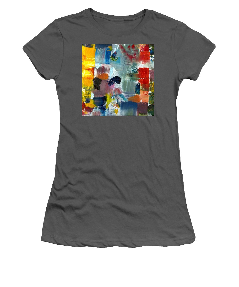 Abstract Collage Women's T-Shirt (Athletic Fit) featuring the painting Abstract Color Relationships Lv by Michelle Calkins
