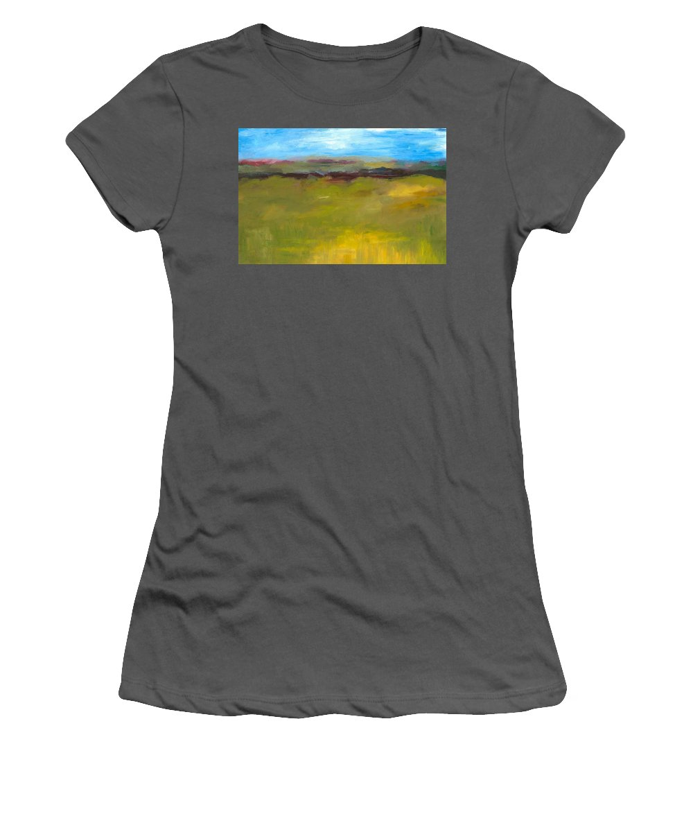 Abstract Expressionism Women's T-Shirt (Athletic Fit) featuring the painting Abstract Landscape - The Highway Series by Michelle Calkins