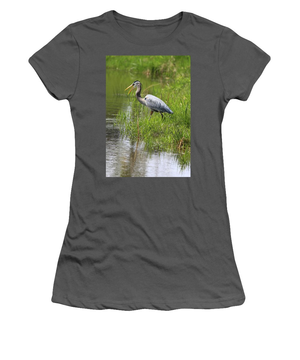 Bird Women's T-Shirt (Athletic Fit) featuring the photograph Ah That Tastes Good by Deborah Benoit