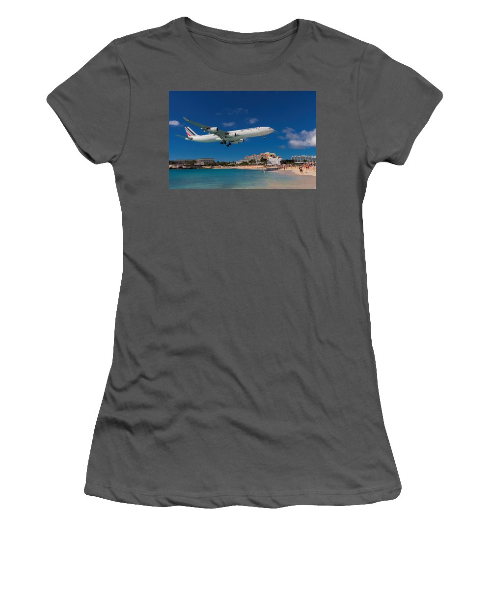 Air France Women's T-Shirt (Athletic Fit) featuring the photograph Air France At St. Maarten by David Gleeson