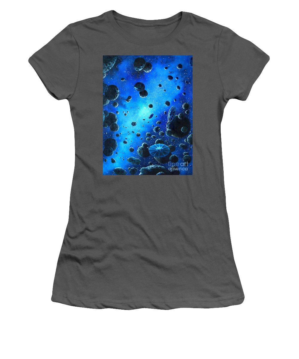 (space Ships) Women's T-Shirt (Athletic Fit) featuring the painting Alien Flying Saucers by Murphy Elliott