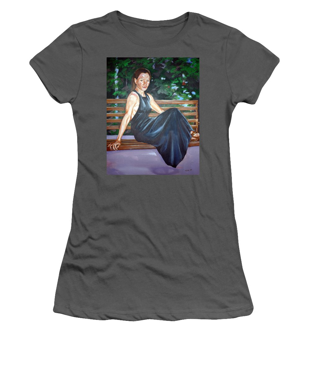 Sexy Women's T-Shirt (Athletic Fit) featuring the painting Allison Two by Bryan Bustard