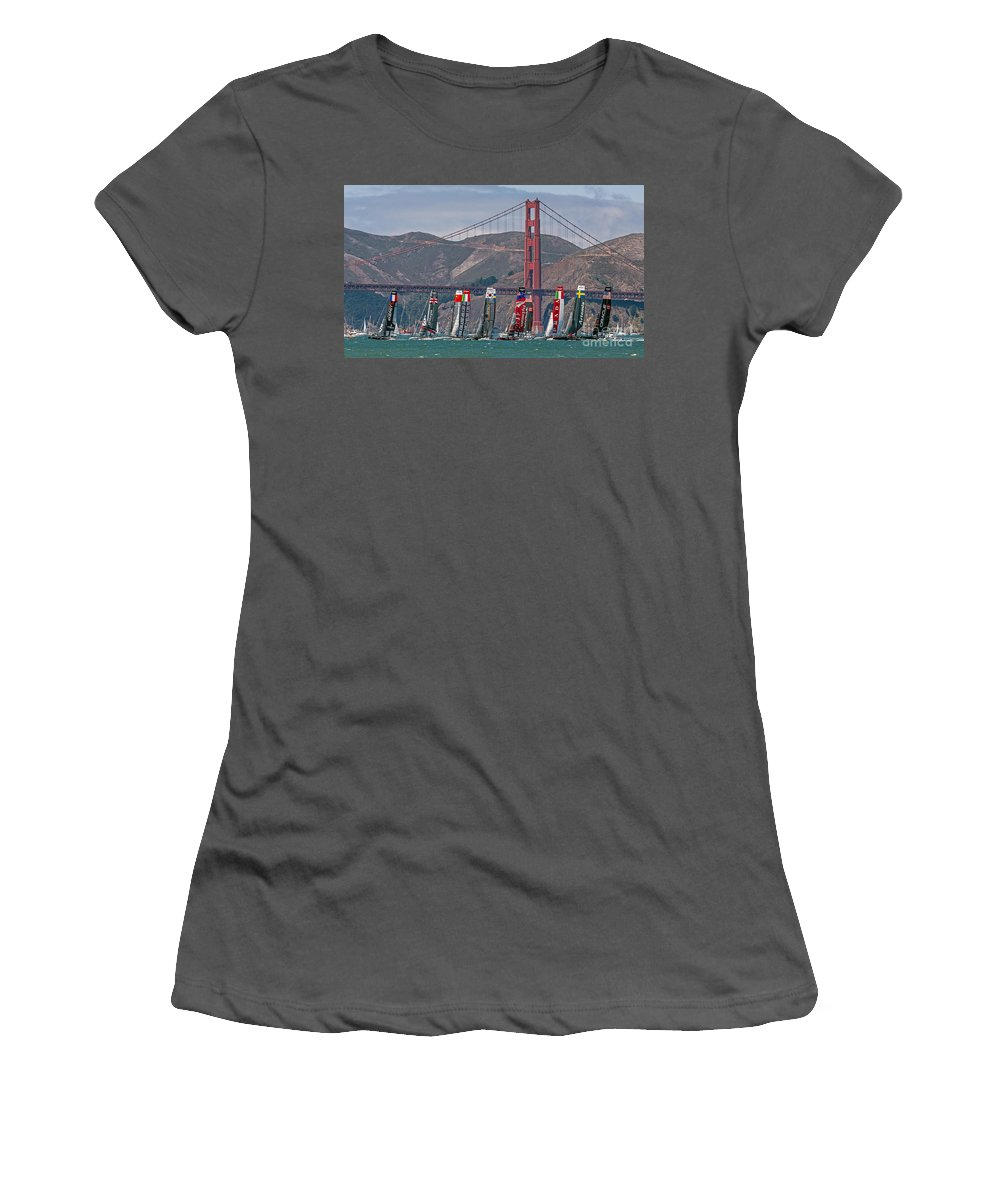 America's Cup Women's T-Shirt (Athletic Fit) featuring the photograph Americas Cup Catamarans At The Golden Gate by Kate Brown