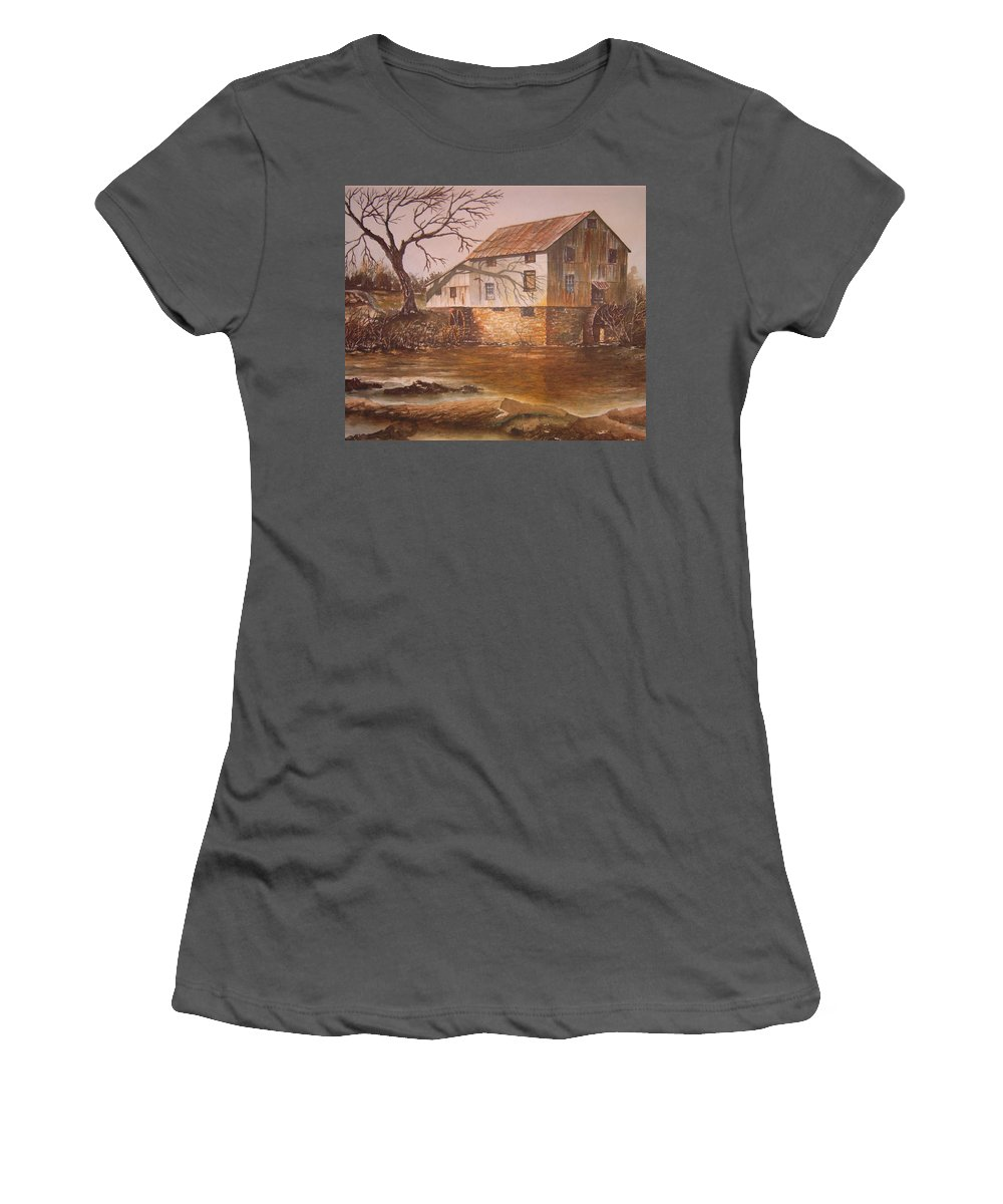 Landscape Women's T-Shirt (Athletic Fit) featuring the painting Anderson Mill by Ben Kiger