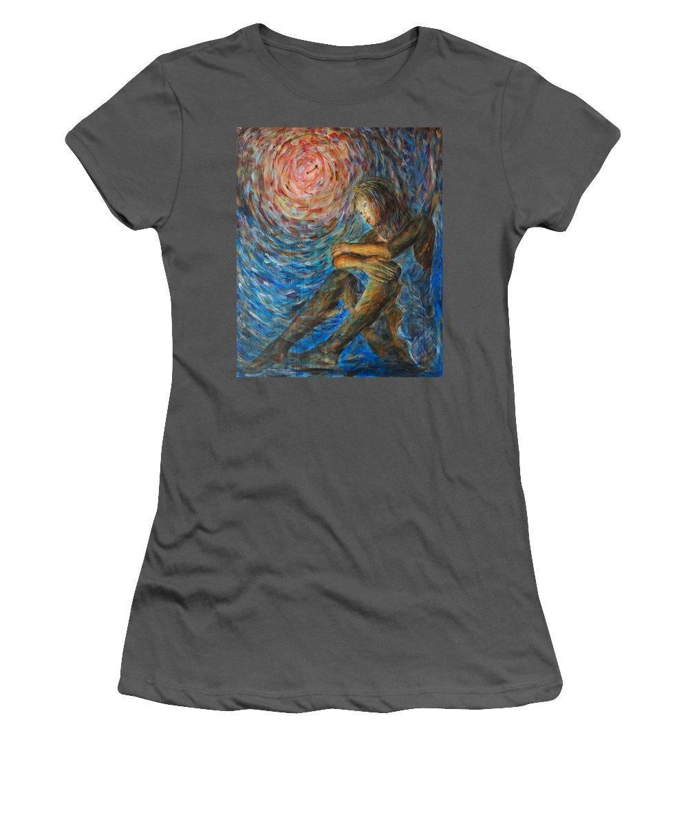 Angel Women's T-Shirt (Athletic Fit) featuring the painting Angel Moon I by Nik Helbig