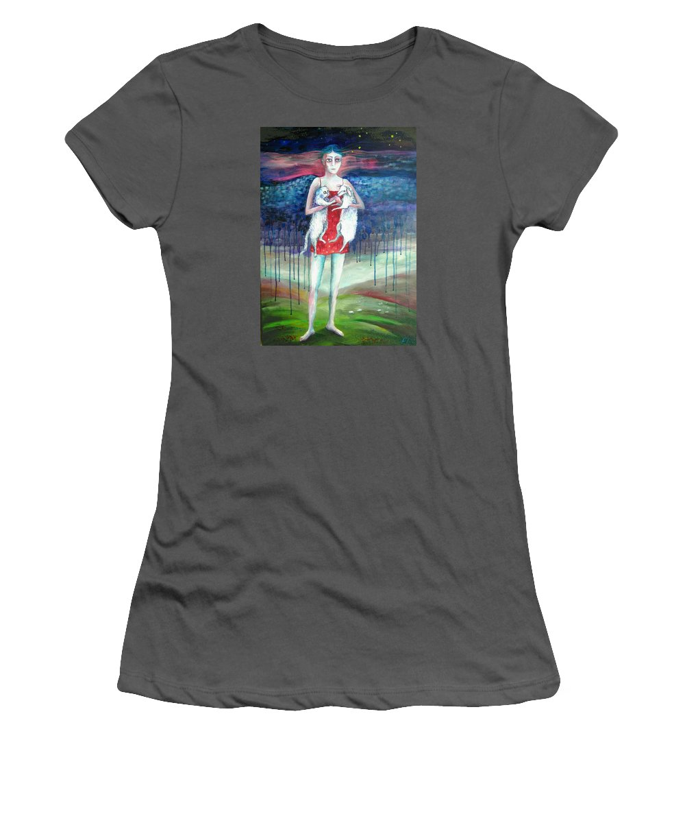 Modern Art Women's T-Shirt (Athletic Fit) featuring the painting Angels Of Zodiac. Aries The Ram by Elisheva Nesis