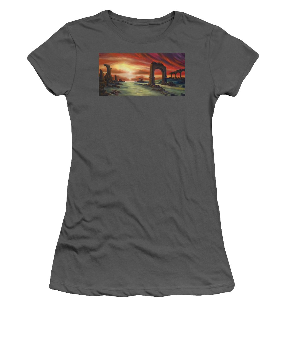 Sunset Women's T-Shirt (Athletic Fit) featuring the painting Another Fallen Empire by James Christopher Hill