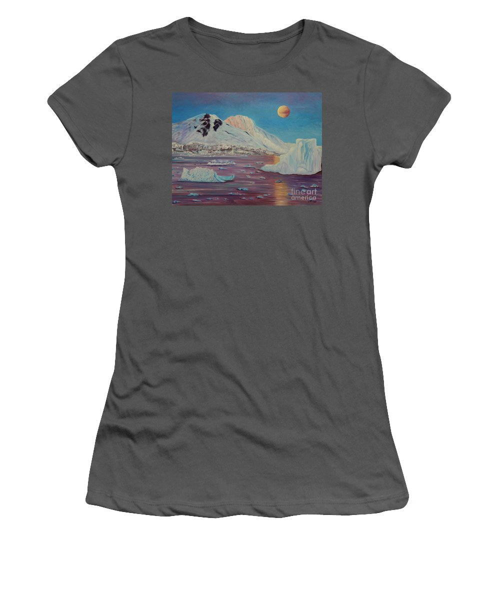 Landscape Women's T-Shirt (Athletic Fit) featuring the painting Antarctica by Caroline Street