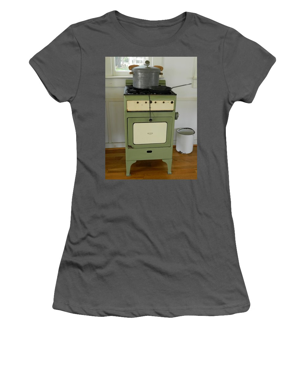Antique Women's T-Shirt (Athletic Fit) featuring the photograph Antique Green Stove And Pressure Cooker by George Pedro