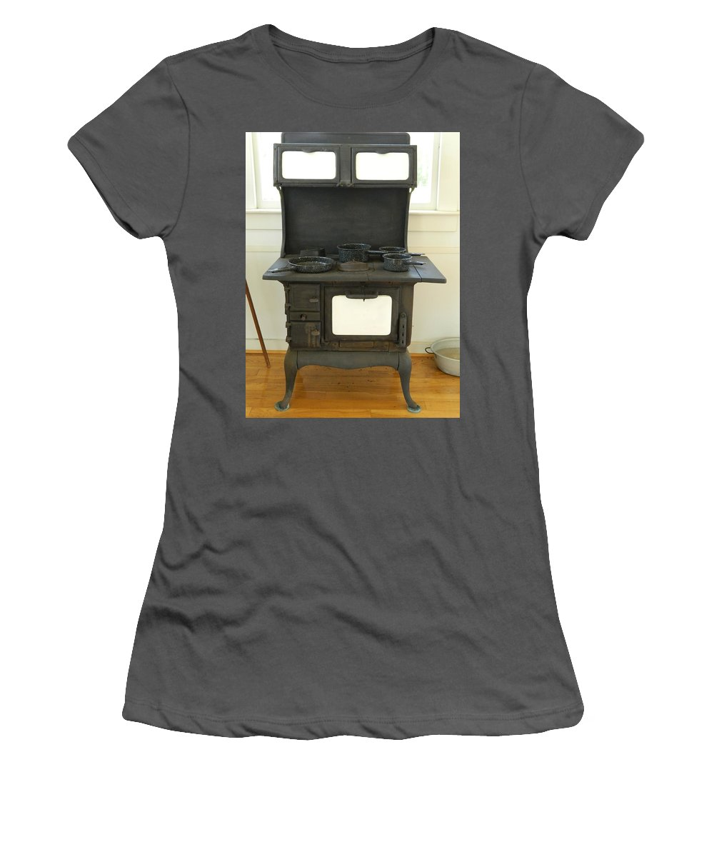 Cast Iron Pans Women's T-Shirt (Athletic Fit) featuring the photograph Antique Stove Number 2 by George Pedro