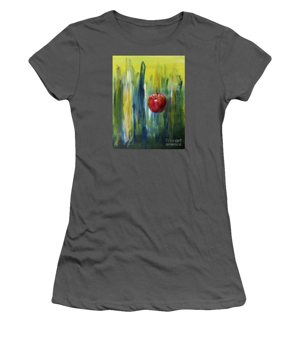 Apple Women's T-Shirt (Athletic Fit) featuring the painting Apple by Arturas Slapsys