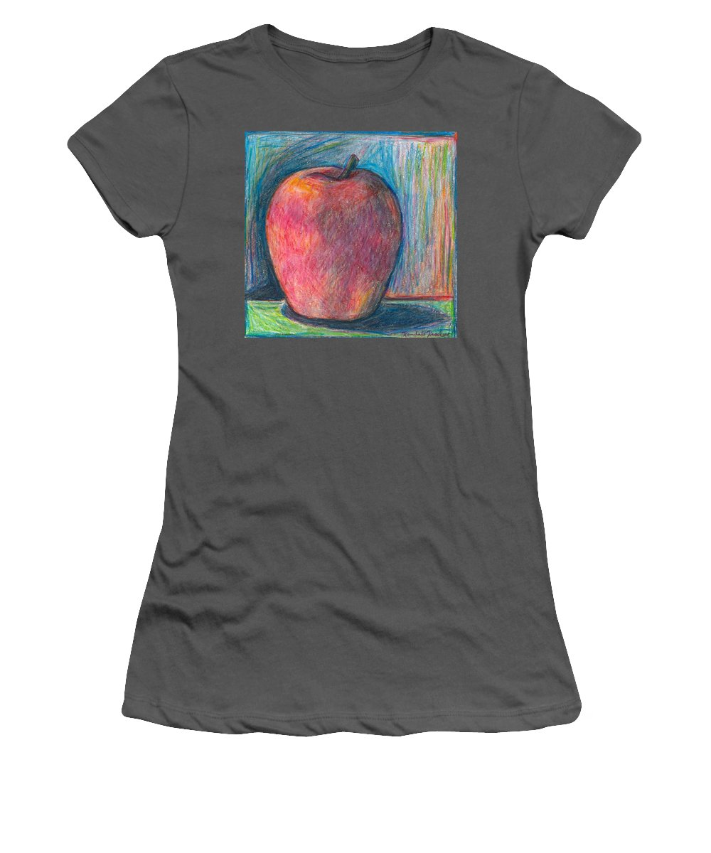 Kendall Kessler Women's T-Shirt (Athletic Fit) featuring the drawing Apple by Kendall Kessler