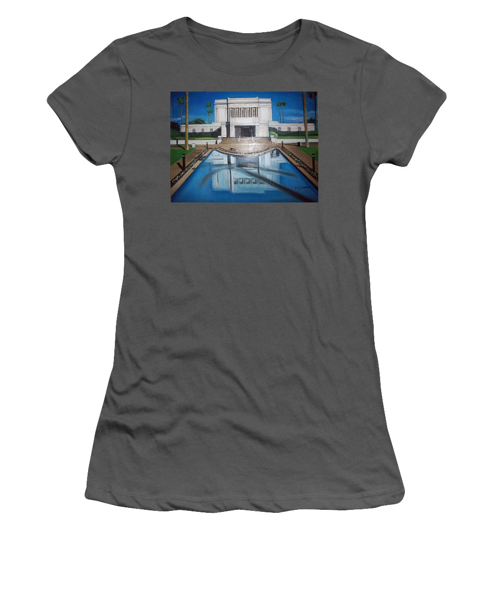 Women's T-Shirt (Athletic Fit) featuring the painting Architectural Landscape by Jude Darrien