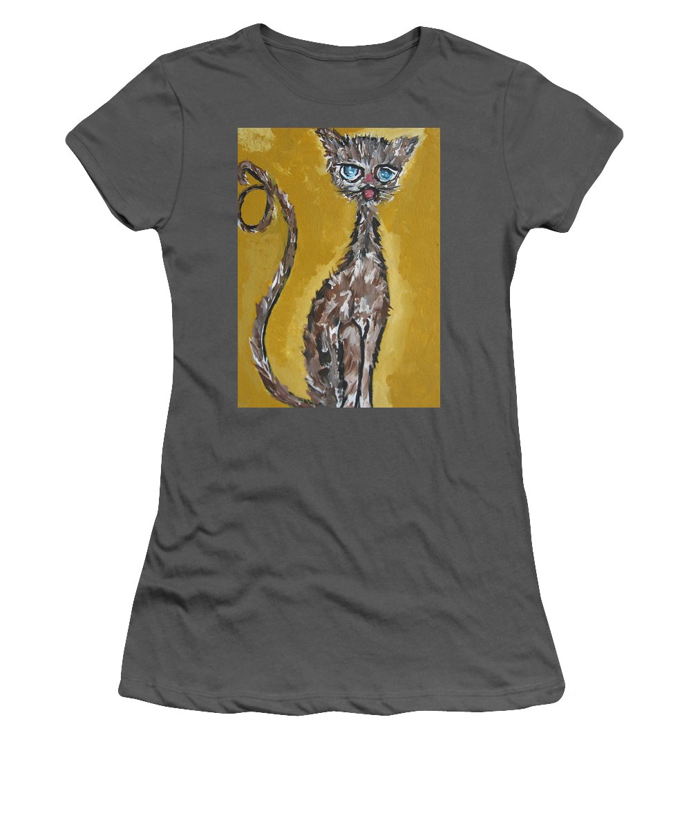 Art Cat Women's T-Shirt (Athletic Fit) featuring the painting Cat Art by Pikotine Art