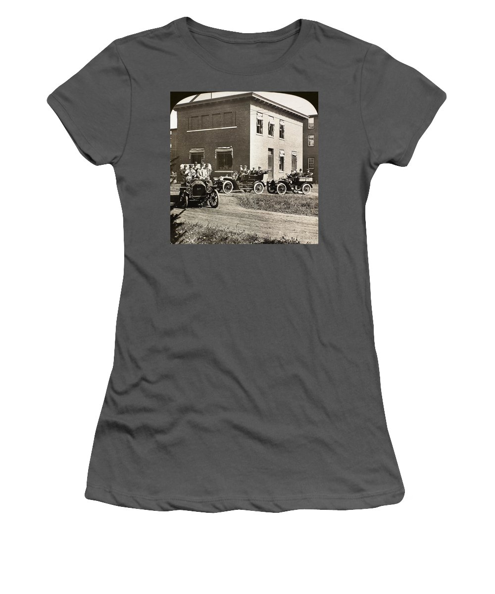 1906 Women's T-Shirt (Athletic Fit) featuring the painting Automobiles, 1906 by Granger