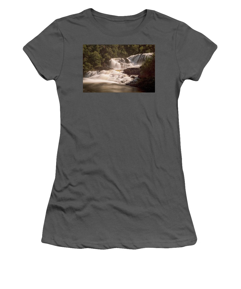 Waterfalls Women's T-Shirt (Athletic Fit) featuring the photograph Bakers Brook Falls by Eunice Gibb