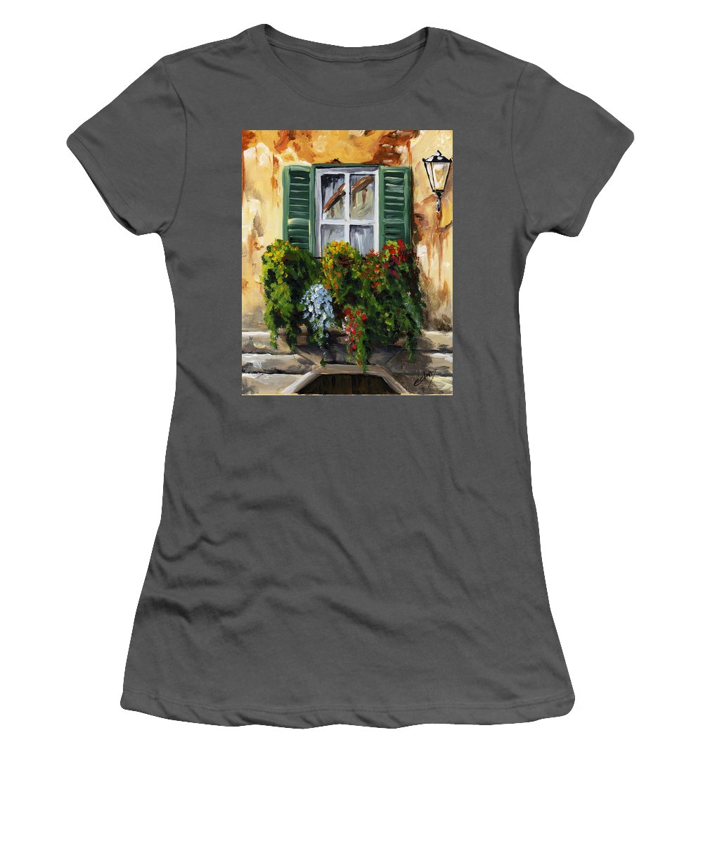 Balcony Women's T-Shirt (Athletic Fit) featuring the painting Balcony Of Napoly by Voros Edit