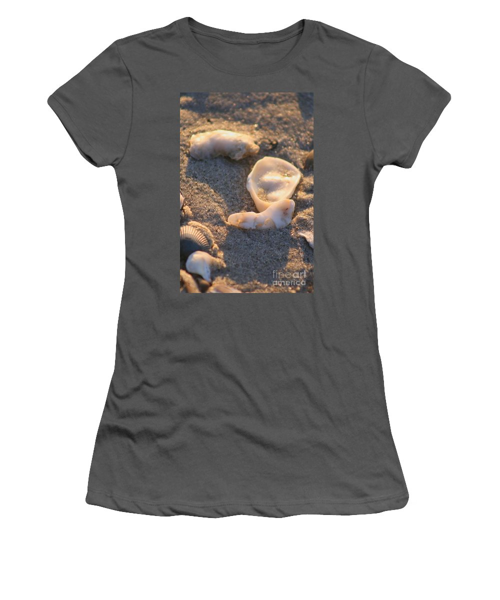 Shells Women's T-Shirt (Athletic Fit) featuring the photograph Bald Head Island Shells by Nadine Rippelmeyer