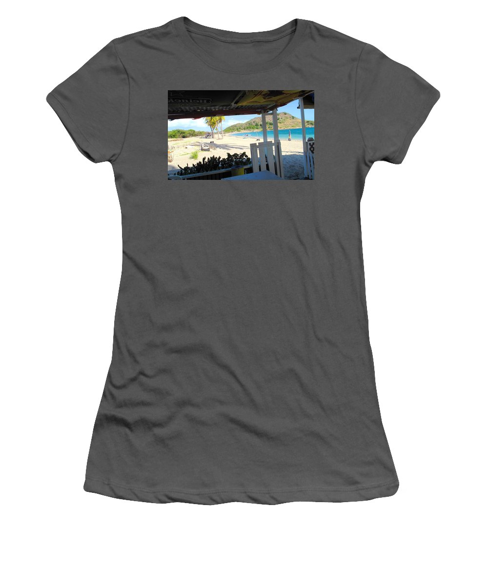St Kitts Women's T-Shirt (Athletic Fit) featuring the photograph Beach Bar In January by Ian MacDonald